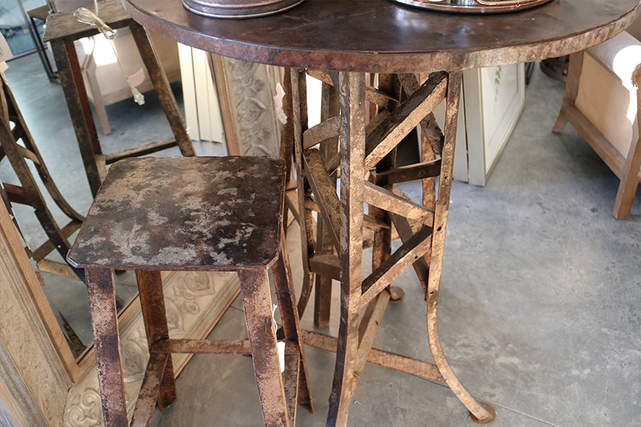 reclaimed steel pub table 30% off